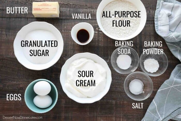 Ingredients for Sour Cream Coffee Cake: butter, granulated sugar, eggs, vanilla, sour cream, all-purpose flour, baking soda, baking powder, and salt.