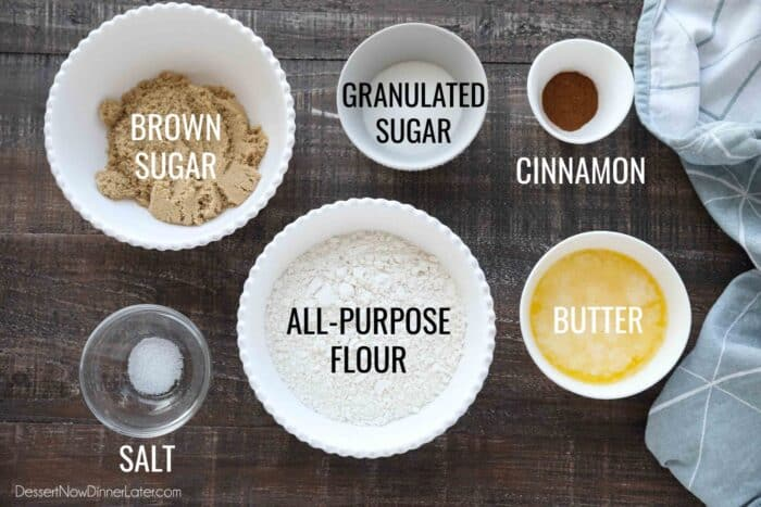Ingredients for coffee cake streusel: brown sugar, granulated sugar, cinnamon, salt, all-purpose flour, and melted butter.