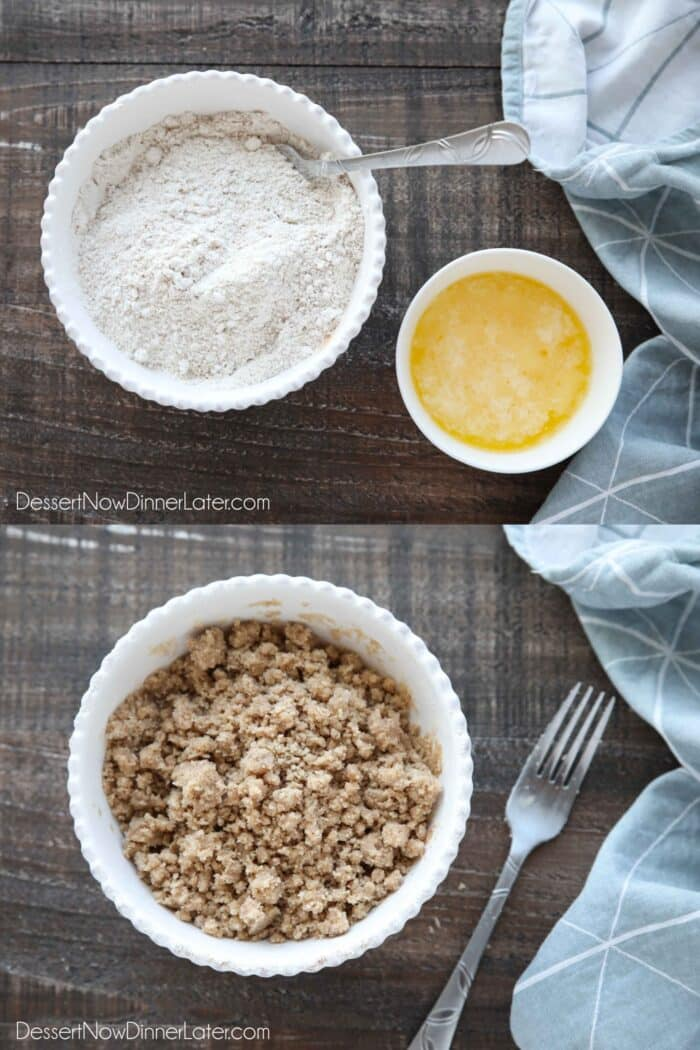 Collage image for how to make coffee cake streusel. Top: Combine brown sugar, sugar, cinnamon, salt, and flour in a bowl. Bottom: Add melted butter and mix well with a fork until crumbly.