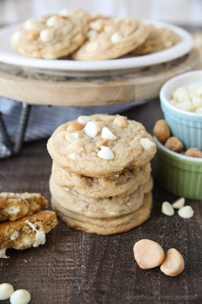 Stack of White Chocolate Macadamia Cookies.