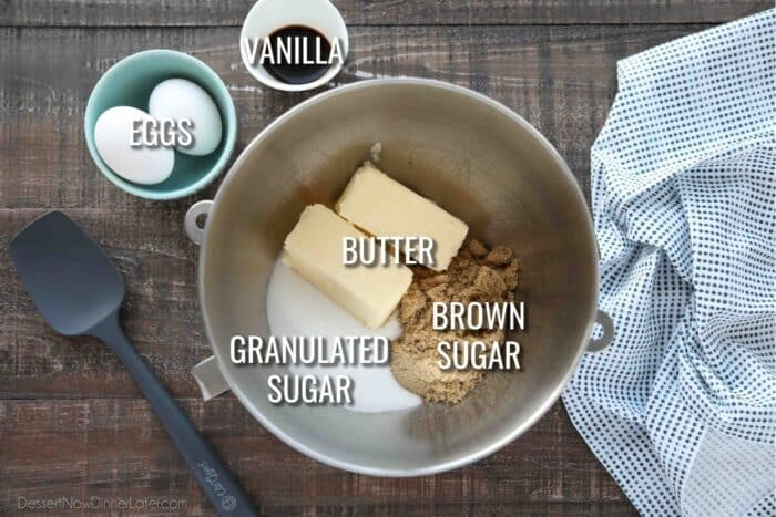 Wet Ingredients for White Chocolate Macadamia Nut Cookies: butter, brown sugar, granulated sugar, eggs, and vanilla.