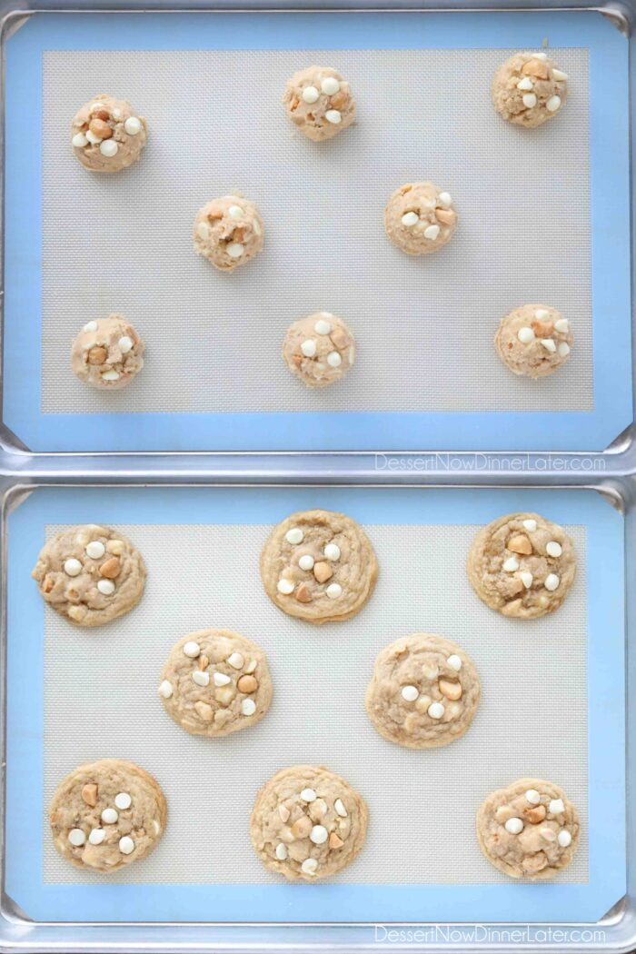 Collage Image for White Chocolate Macadamia Nut Cookies. Top: Cookie dough on tray. Bottom: Baked cookies.