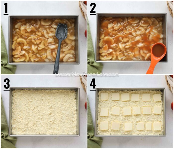 Collage image of recipe steps. 1 - Spread apple pie filling in 13x9-inch pan. 2 - Drizzle caramel over apple pie filling. 3 - Sprinkle cake mix over caramel. 4 - Place thinly sliced pats of butter over cake mix.