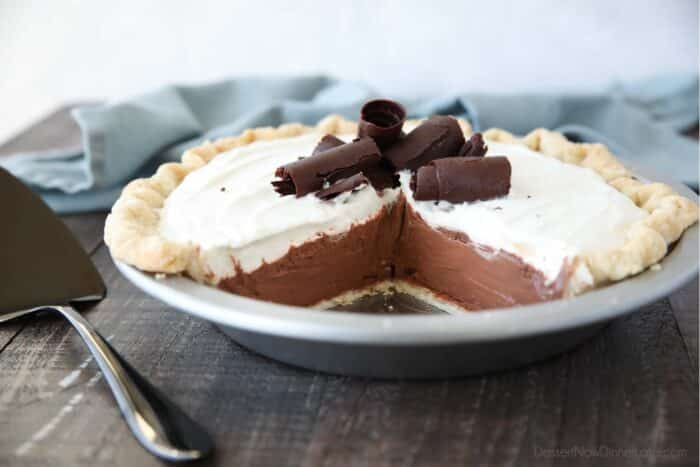 Side view of Chocolate Cream Pie with chocolate curls on top.
