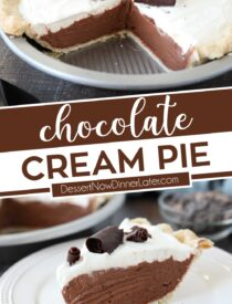 Pinterest collage image for Chocolate Cream Pie with two images and text in the center.