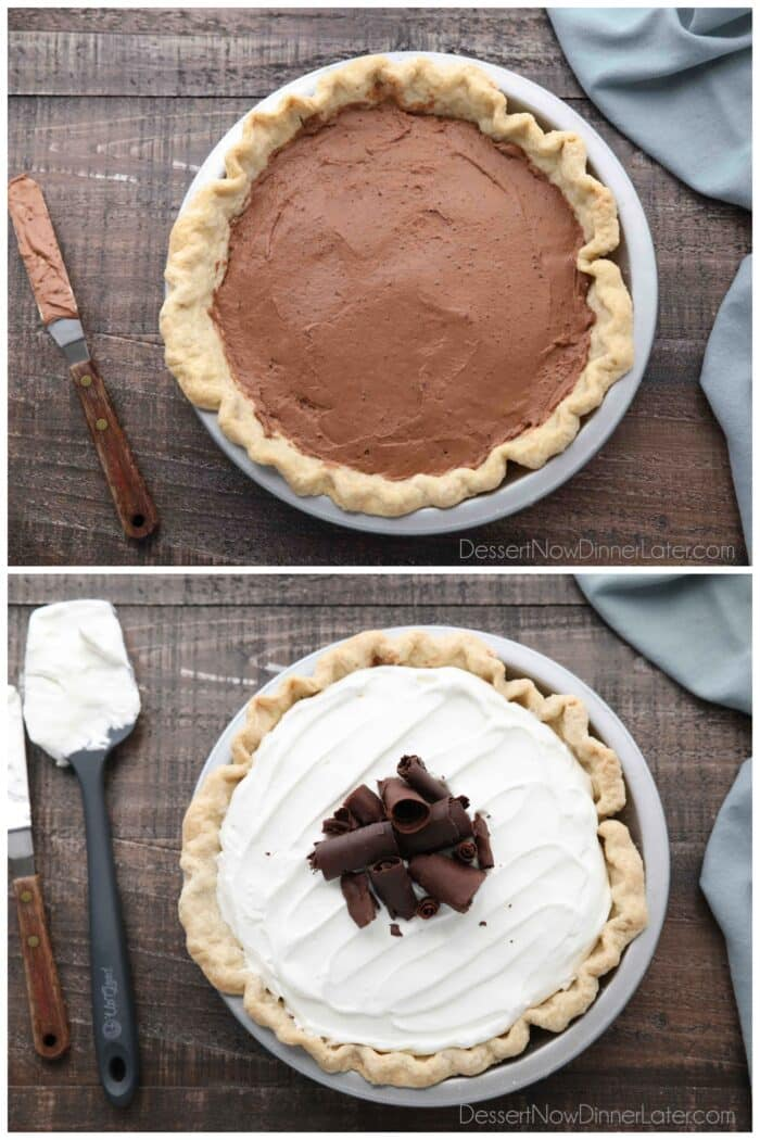 Collage. Top image: Pie crust with chocolate cream filling. Bottom: Sweetened whipped cream and chocolate shavings layered on top of the pie.