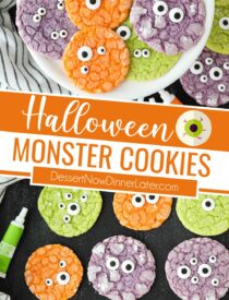 Pinterest collage image for Halloween Monster Cookies with two images and text in the center.