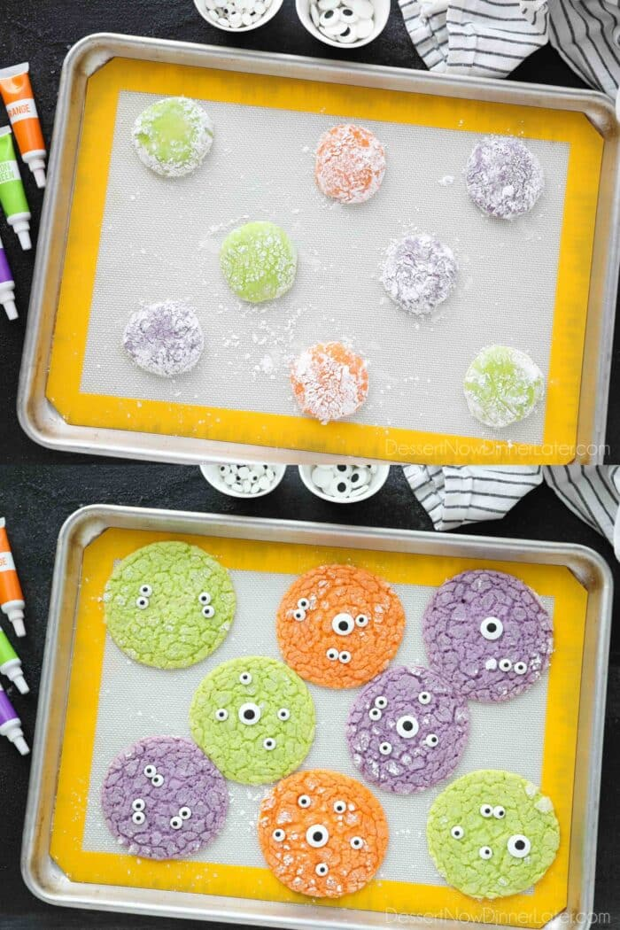 Collage image. Neon green, purple, and orange cookie dough coated in powdered sugar on a baking sheet. Then baked cookies that have been topped with candy eyeballs.