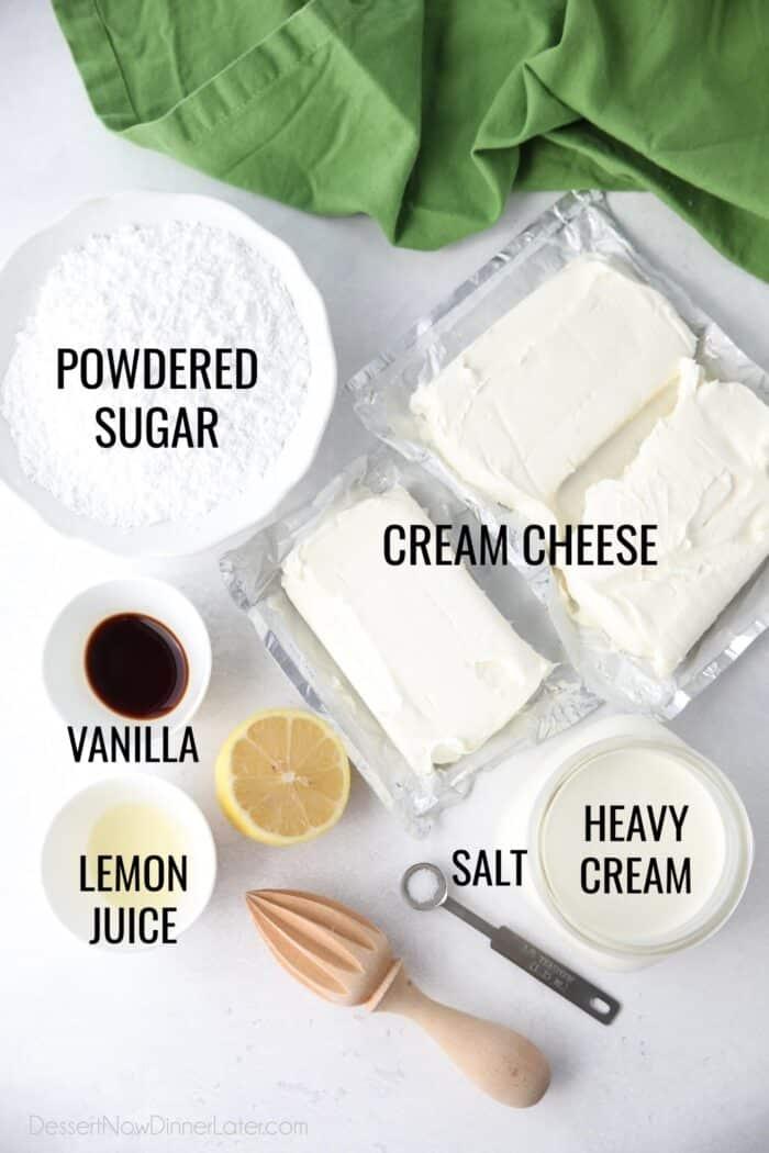 Ingredients for no bake cheesecake filling: cream cheese, powdered sugar, salt, vanilla, lemon juice, and heavy cream.
