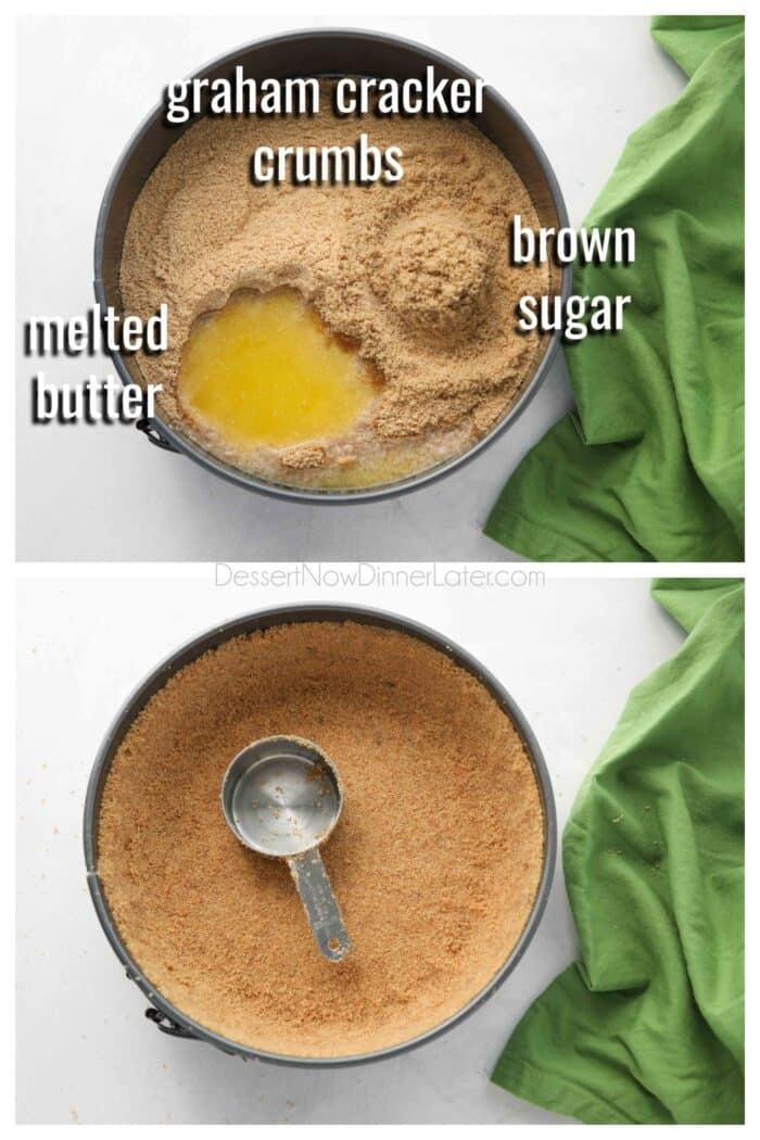 Collage. Top: No bake graham cracker crust ingredients: graham cracker crumbs, brown sugar, and melted butter. Bottom: Crust being pressed into springform pan with a measuring cup.