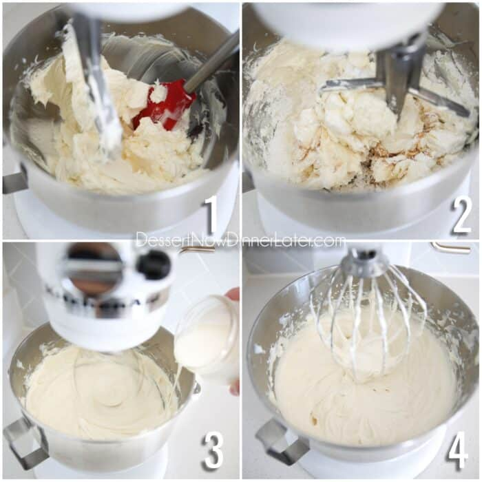 Collage steps to make no bake cheesecake filling. 1- Beat cream cheese in stand mixer with paddle attachment. 2- Add powdered sugar, salt, vanilla, and lemon juice. Mix. 3- Switch to whisk and slowly add heavy cream while mixing. 4- Whip until filling is thick and stiff.