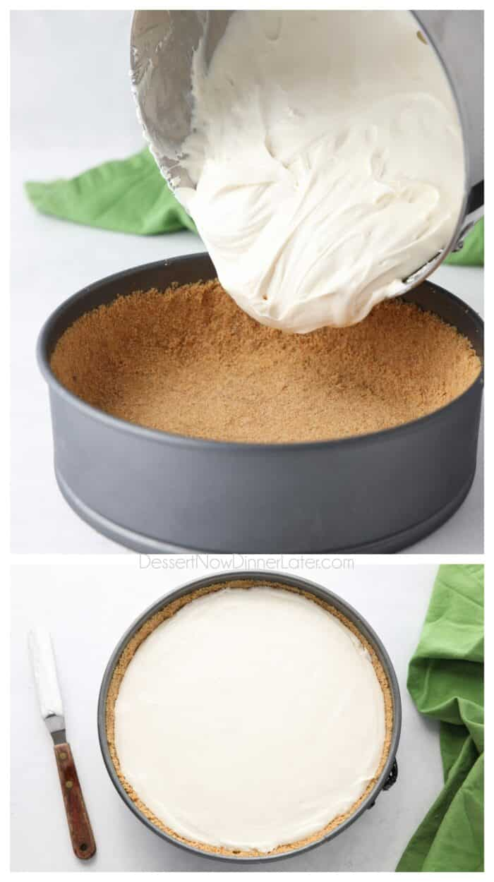 Collage. Top: Empty no bake cheesecake filling into graham cracker crust. Bottom: Smooth with a spatula.