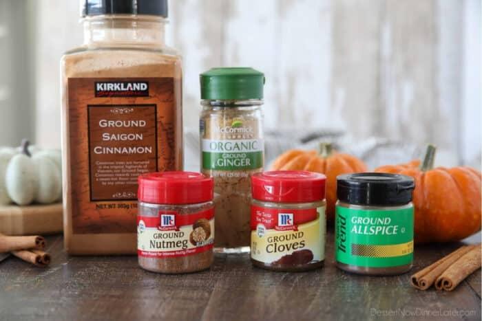 Ingredients for homemade mccormick pumpkin pie spice: ground cinnamon, ground ginger, ground nutmeg, ground cloves, and ground allspice.