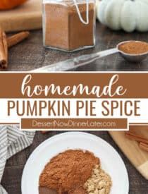 Pinterest collage for Homemade Pumpkin Pie Spice with two images and text in the center.